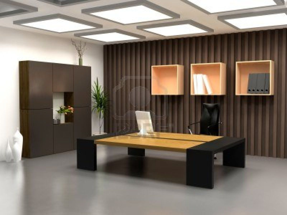 The modern office interior design 3d render office for Office table 3d design