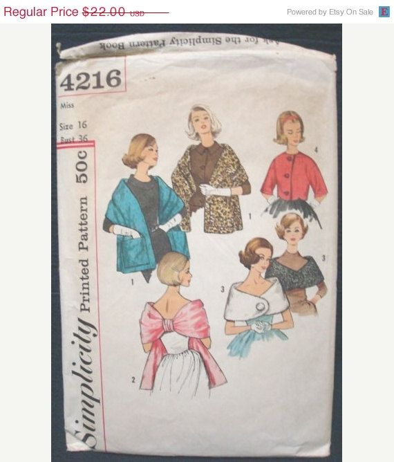 SALE 1960s Stoles Capelet Jacket Sewing Pattern Simplicity 4216 Ca ...