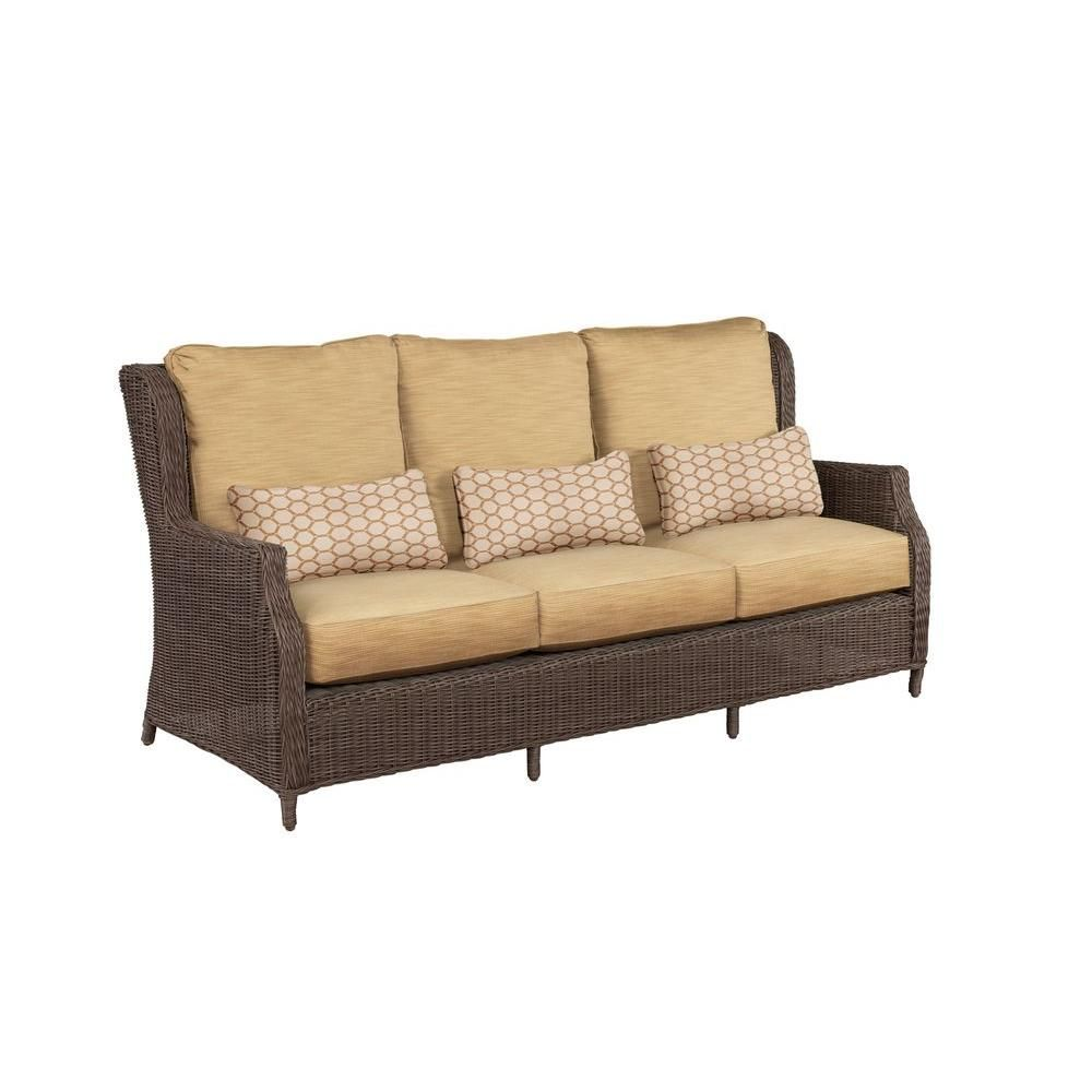 brown jordan vineyard patio sofa with toffee cushions and tessa rh pinterest com