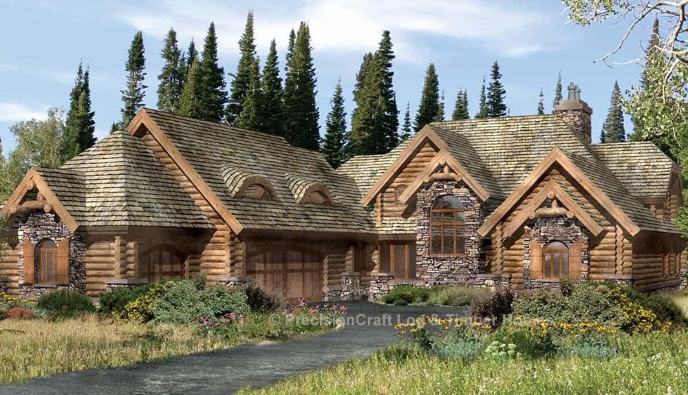 The Lafayette Log Home Floor Plan By Precisioncraft Log Timber Homes Features A Cozy Breakfast Nook Partial Wa Log Homes Log Home Plans Log Home Floor Plans