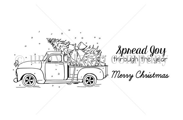 Old Traditions Unity Stamps Christmas Tree Coloring Page Truck Coloring Pages