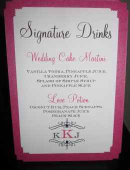 Custom Signature Drink Sign For Wedding Name And Ings From Real Bride Groom Made By Bella M Events On Etsy