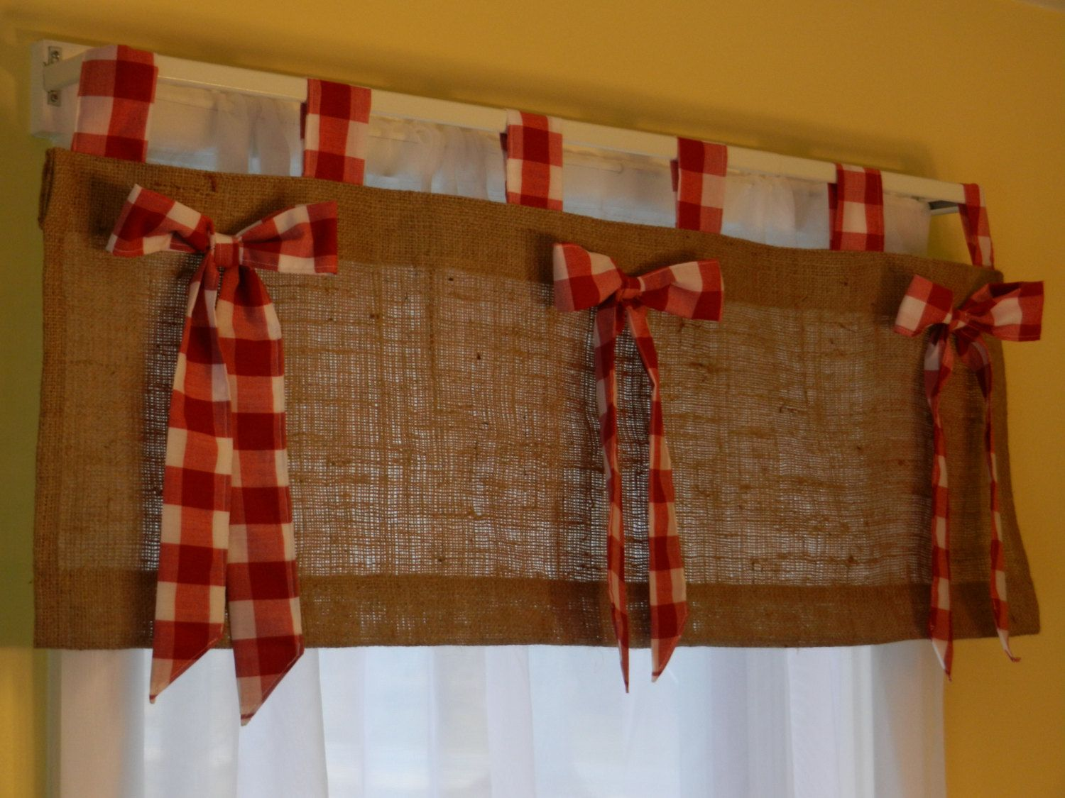 Burlap tab valance with red and white check tabs and bows valance