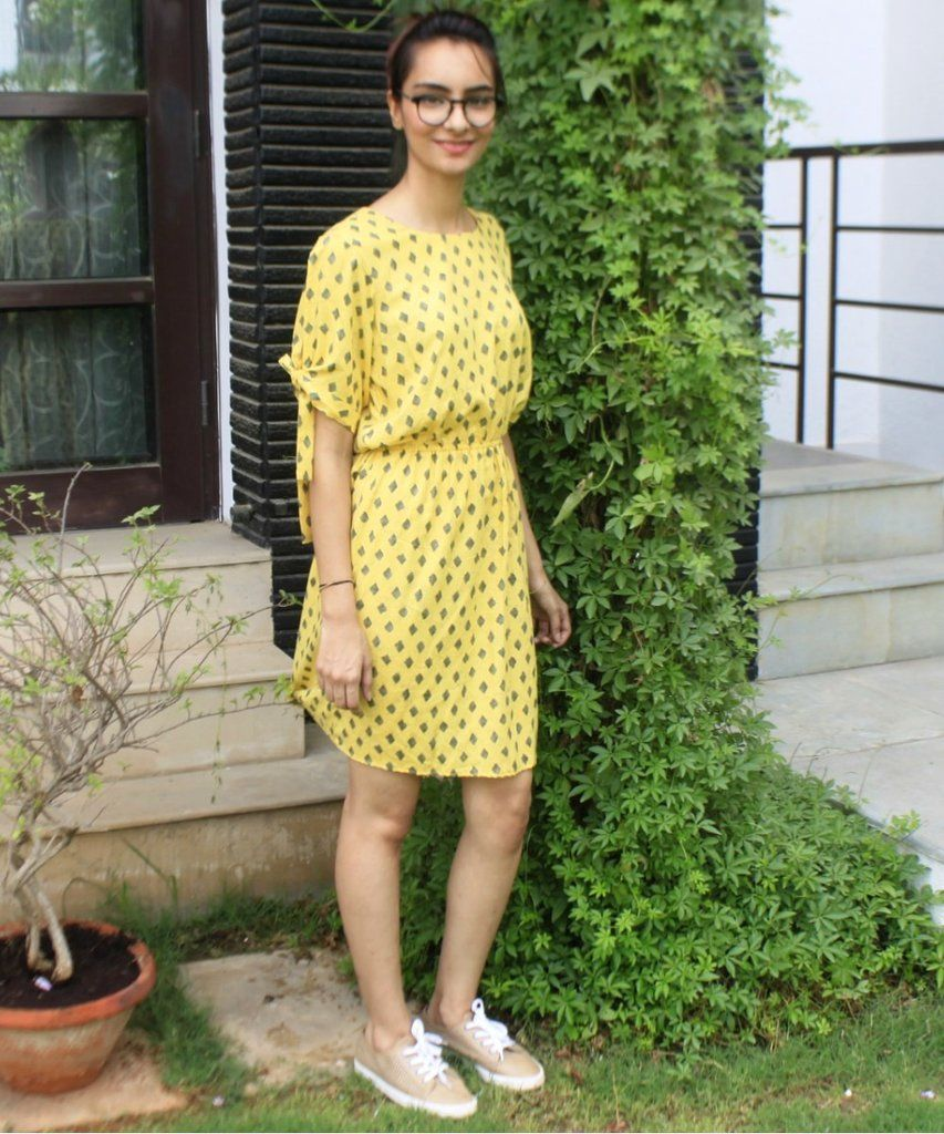 a49f246ed803 Lemon Grey Knee Length Dress Yellow Dress