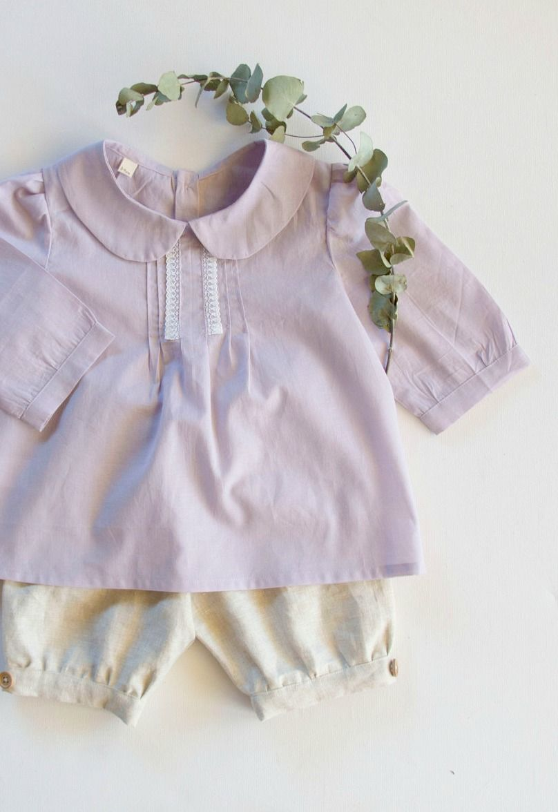 9604078eca Girls Handmade Cotton   Lace Blouse With Peter Pan Collar