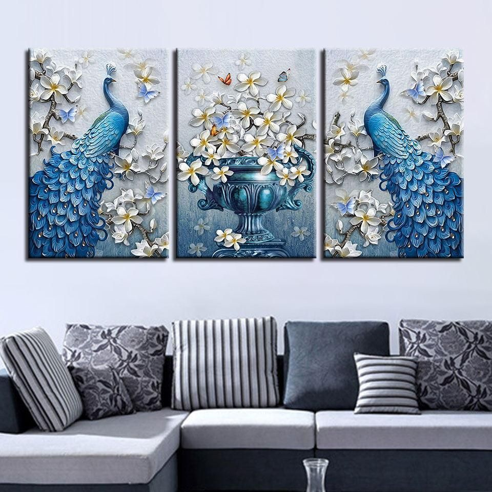 Blue Peacock Flowers Set Living Room Canvas Painting Peacock Wall Decor Peacock Wall Art #peacock #theme #living #room