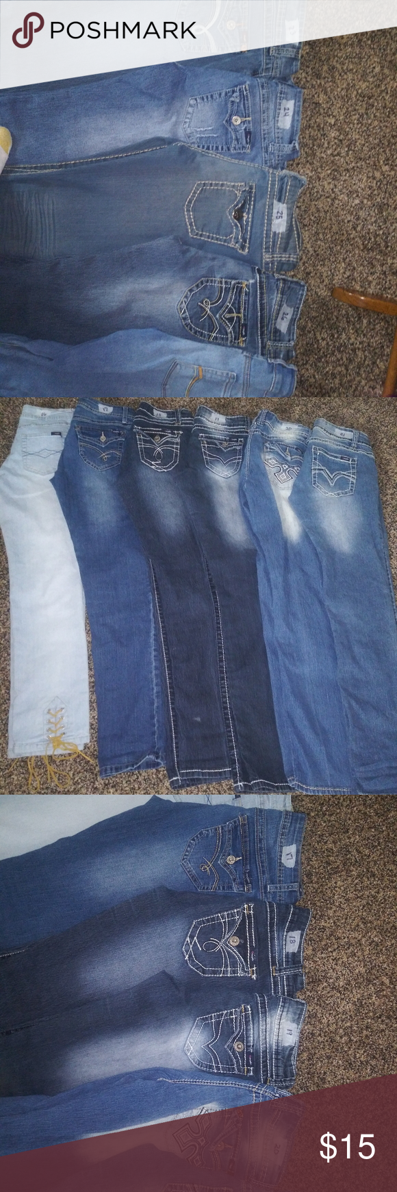 Blue jeans Mix of brands $15 a pair Angels1 size 9 Angels 2 size 9 Maurices 3 size 9/10  Before 4 size 9/10 Daytrip 5 size 29 long skinny Angel 6 size 11 $15.00 a piece 7 Ana. Size 8 8 Levi's size 7m 9 angels size 11 10 no boundaries size 9 11 Earl Jean size 9 12 rue 21 7/8 long slim boot All angel jeans  16 -19 Size 7 20-21 Size 9 22 fantasy size 10 23 angels size 10 24 angels size 7 25 v.i.p. 9/10 26 angels size 9 27 So. Sized 7 All $15 a piece Jeans