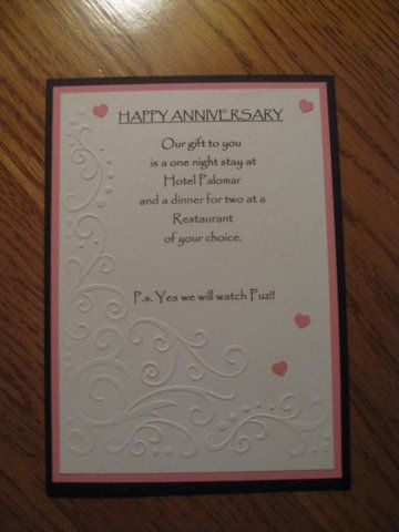 Anniversary First Night Cards Stay The Night
