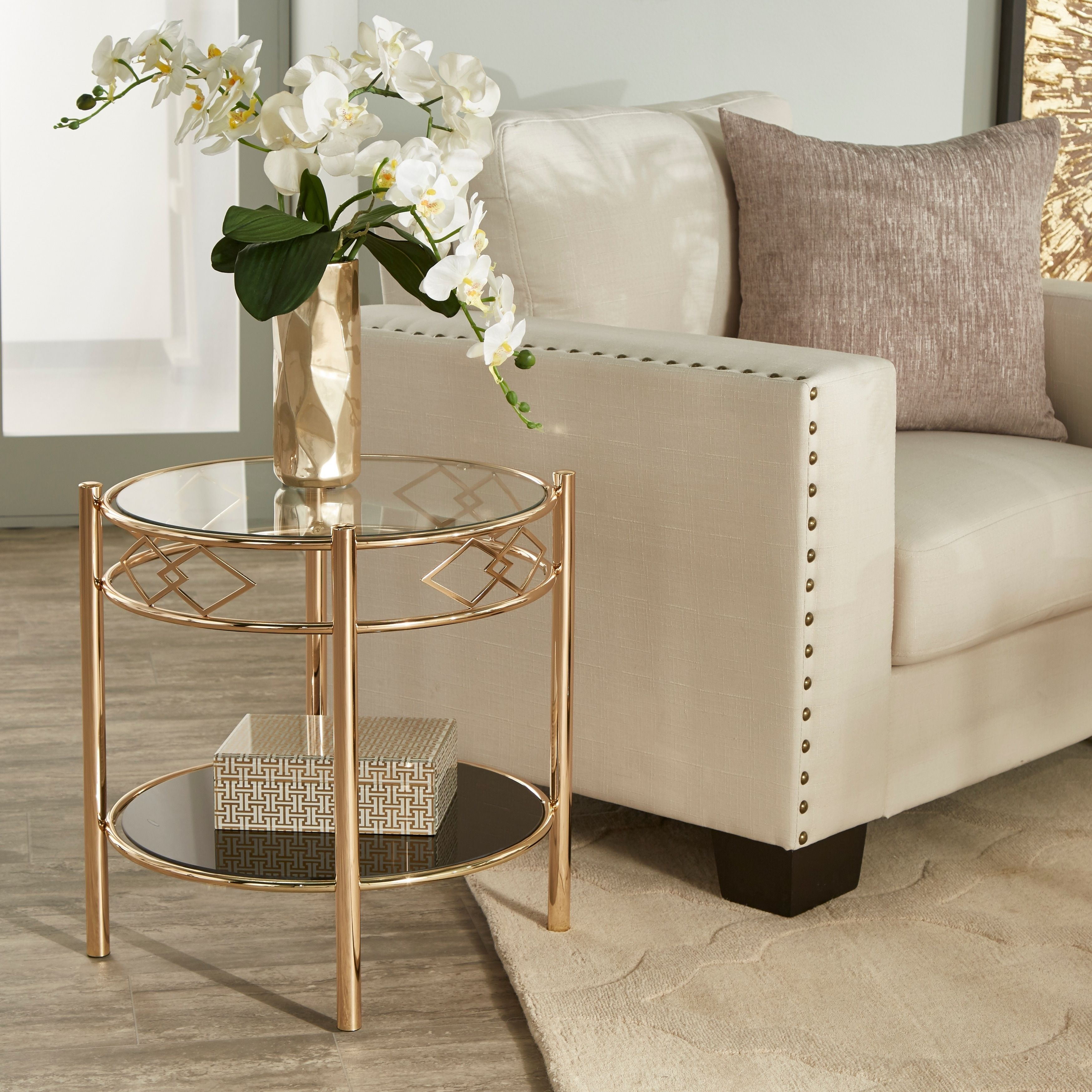 Metropolitan Rose Gold Finish Black Tempered Glass Metal End Table By Inspire Q Bold In 2020 End Tables Gold End Table Metal End Tables