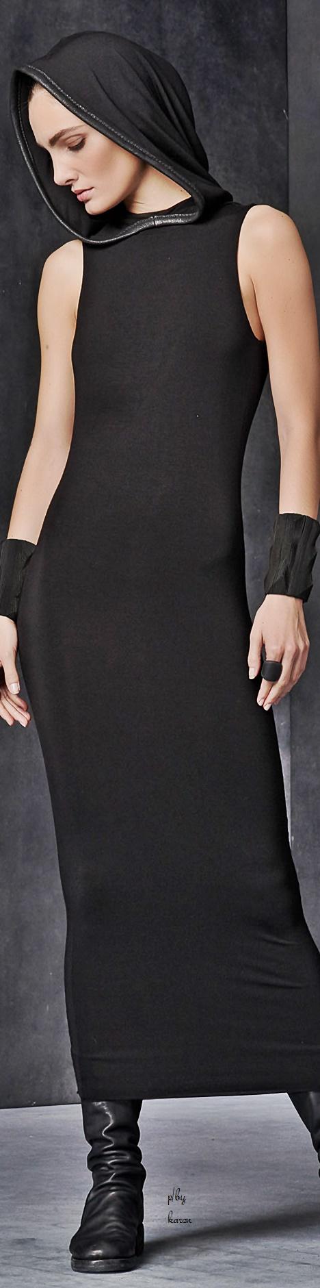 Black Leather Trimmed Hooded Sleeveless Dress