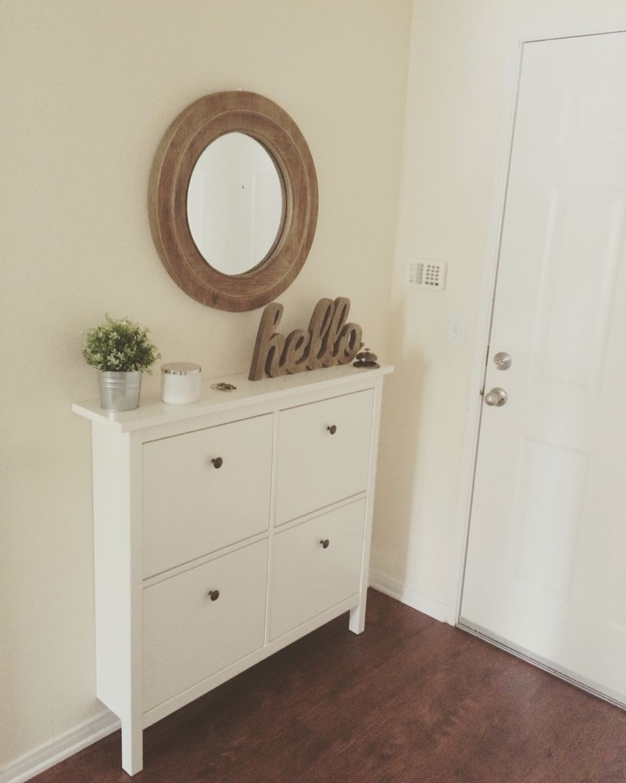 our small entryway ikea hemnes shoe cabinet making a house a home pinterest small. Black Bedroom Furniture Sets. Home Design Ideas