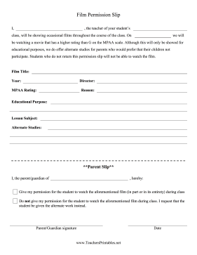 Pg Movie Permission Slip Freebie  Classroom Management
