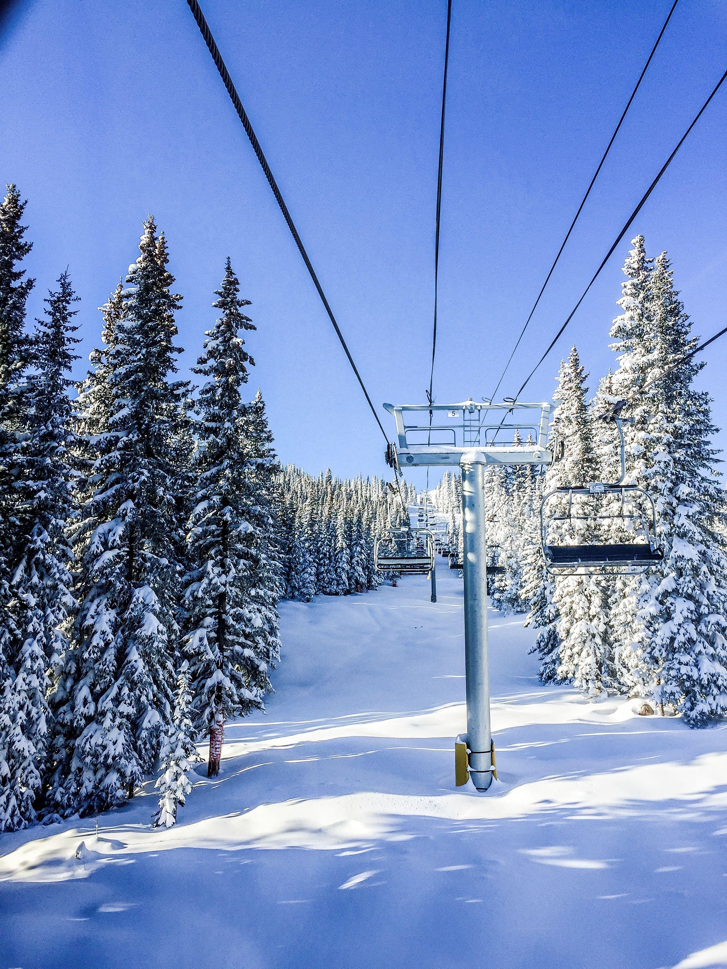Chair lift at marmot basin winter adventure ski trails