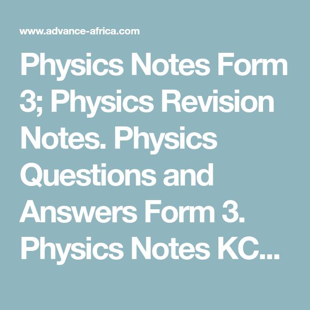 Physics Notes Form 3