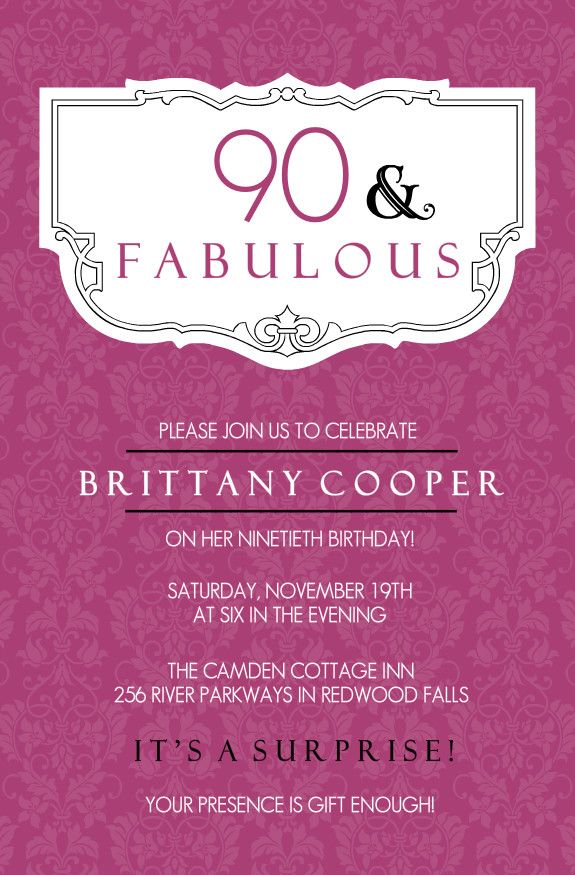 90th Birthday Invitation Wording Greeting Cards Pinterest
