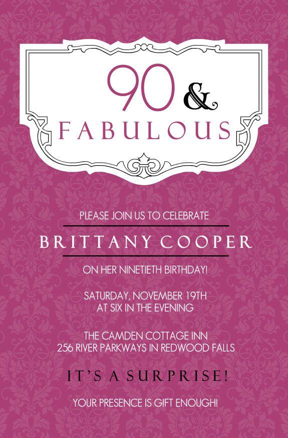 90th birthday invitations wording