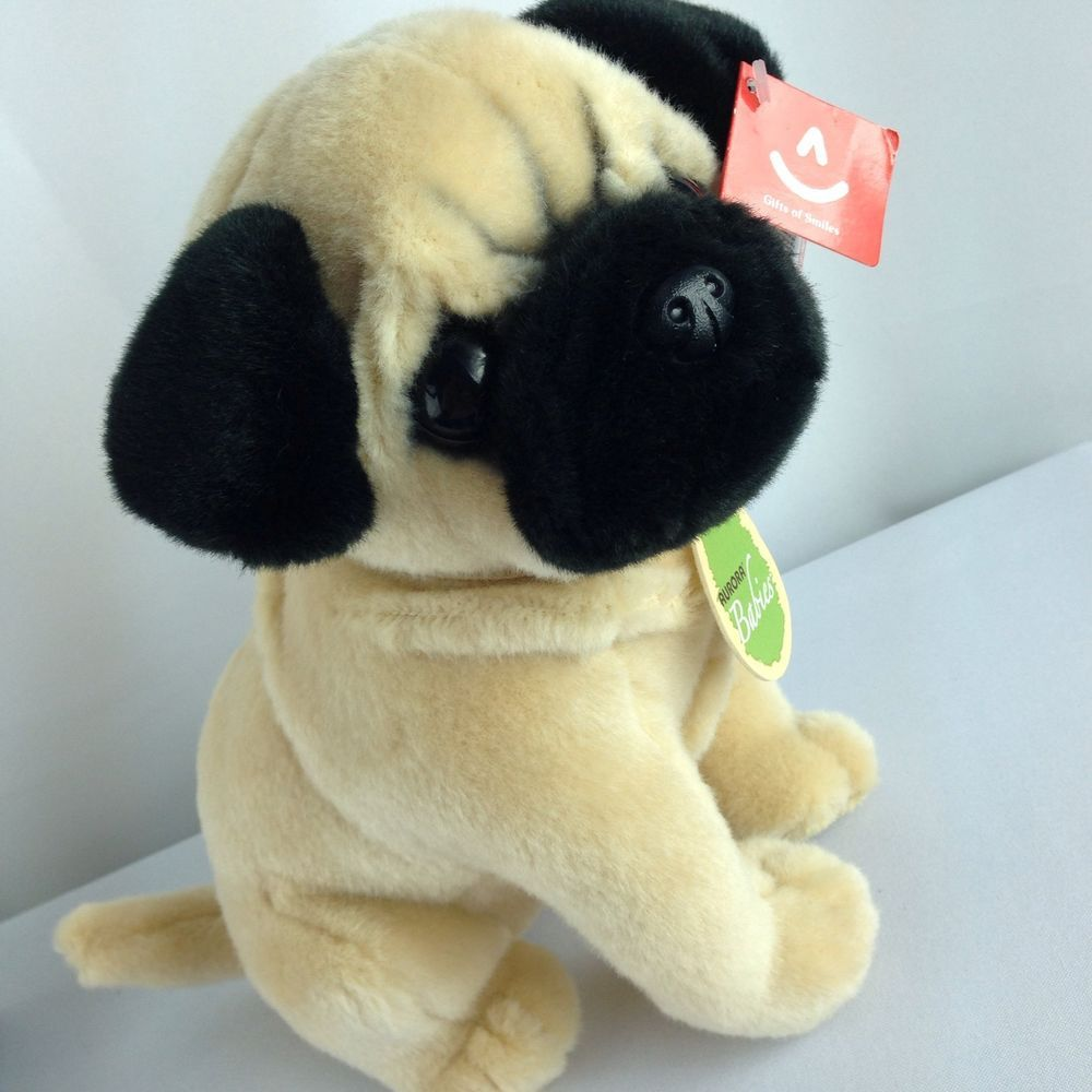 10 Aurora Babies Pug Puppy Dog Plush Stuffed Animal Toy New