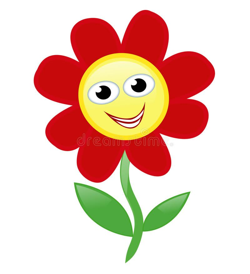 Happy flower. Red cartoon flower with a lovely smiling face ...