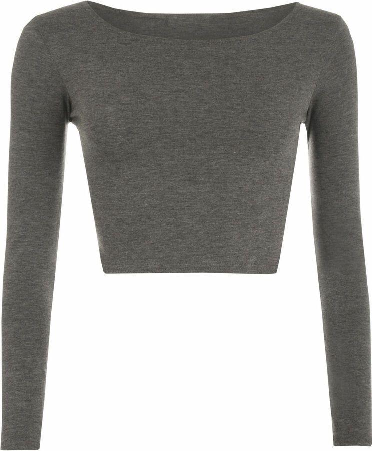 c7adca87e0d6 New Women's girls Long Sleeve Crop Top Ladies Plain T Shirts Round Neck Tops  UK#