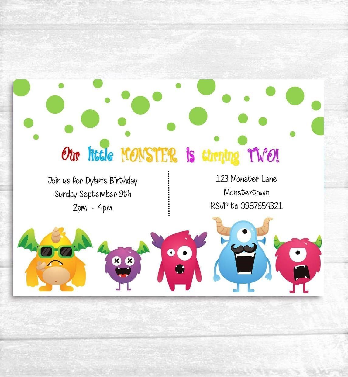 Little Monster Invitations Kids Birthday Invites Bright Design Party 1st 2nd 3rd By TheCraftChickStore On Etsy