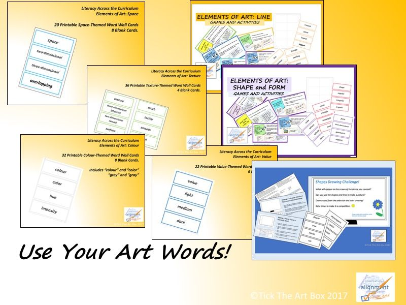 Elements of Art Vocabulary Word Wall Cards: Use Your Art Words ...