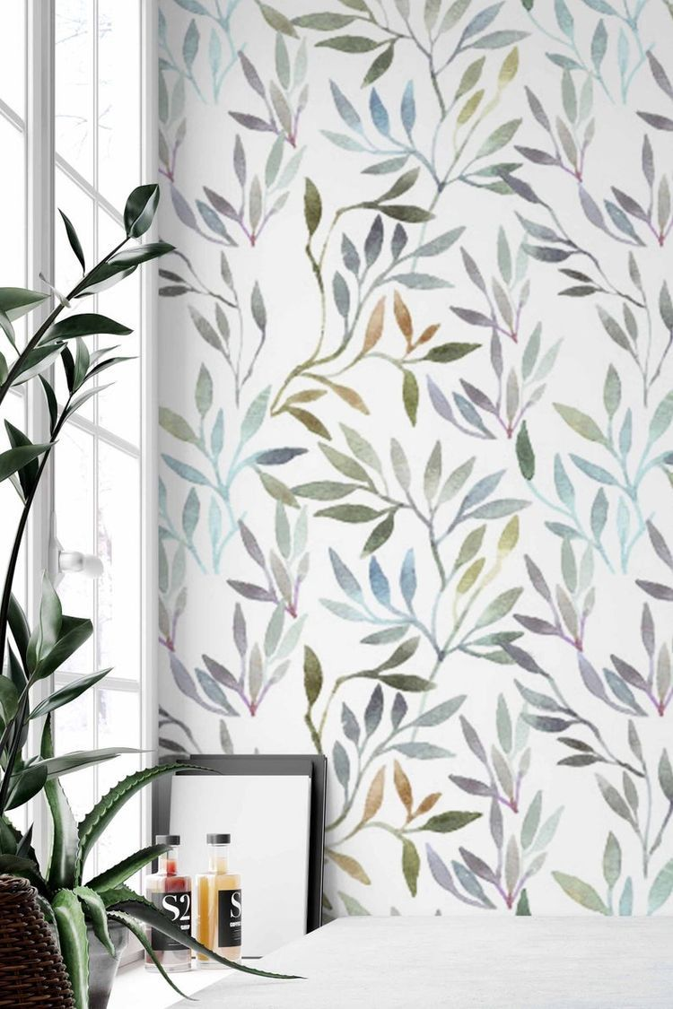 Botanical Removable Wallpaper Peel And Stick Wallpaper Botanical Self Adhesive Wallpaper W Peel And Stick Wallpaper Removable Wallpaper Watercolor Wallpaper