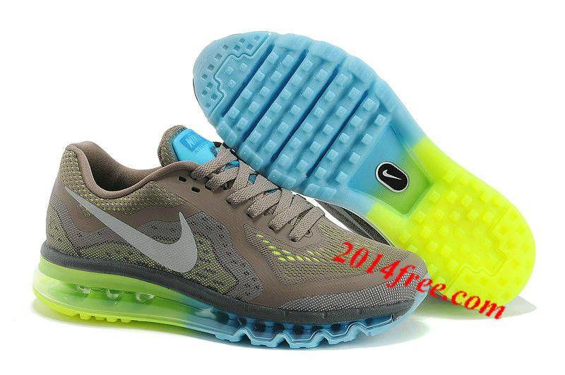 san francisco 59fb0 474d9 Mens  Nike  Air  Max 2014 Deep Grey Fluorescence Green Shoes