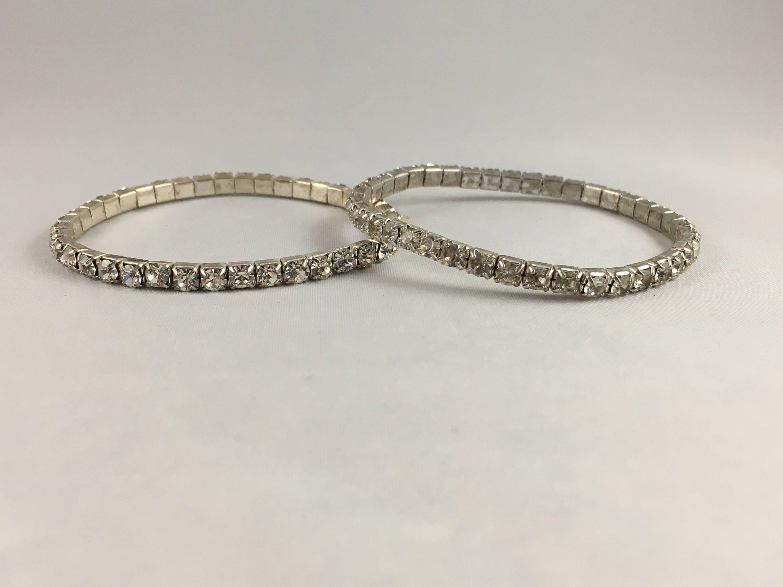 Vintage Rhinestone Bangle Bracelets Two 2 Clear Rhinestones Adjule By Bellevuejewelry On Etsy
