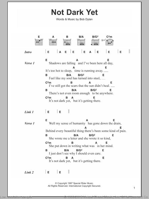 Not Dark Yet Sheet Music For Guitar Chords By Bob Dylan