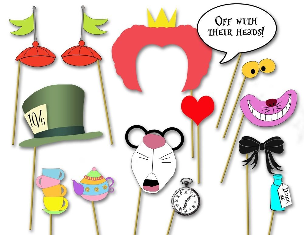 Alice In Wonderland Party Photo Booth Props Printable Diy