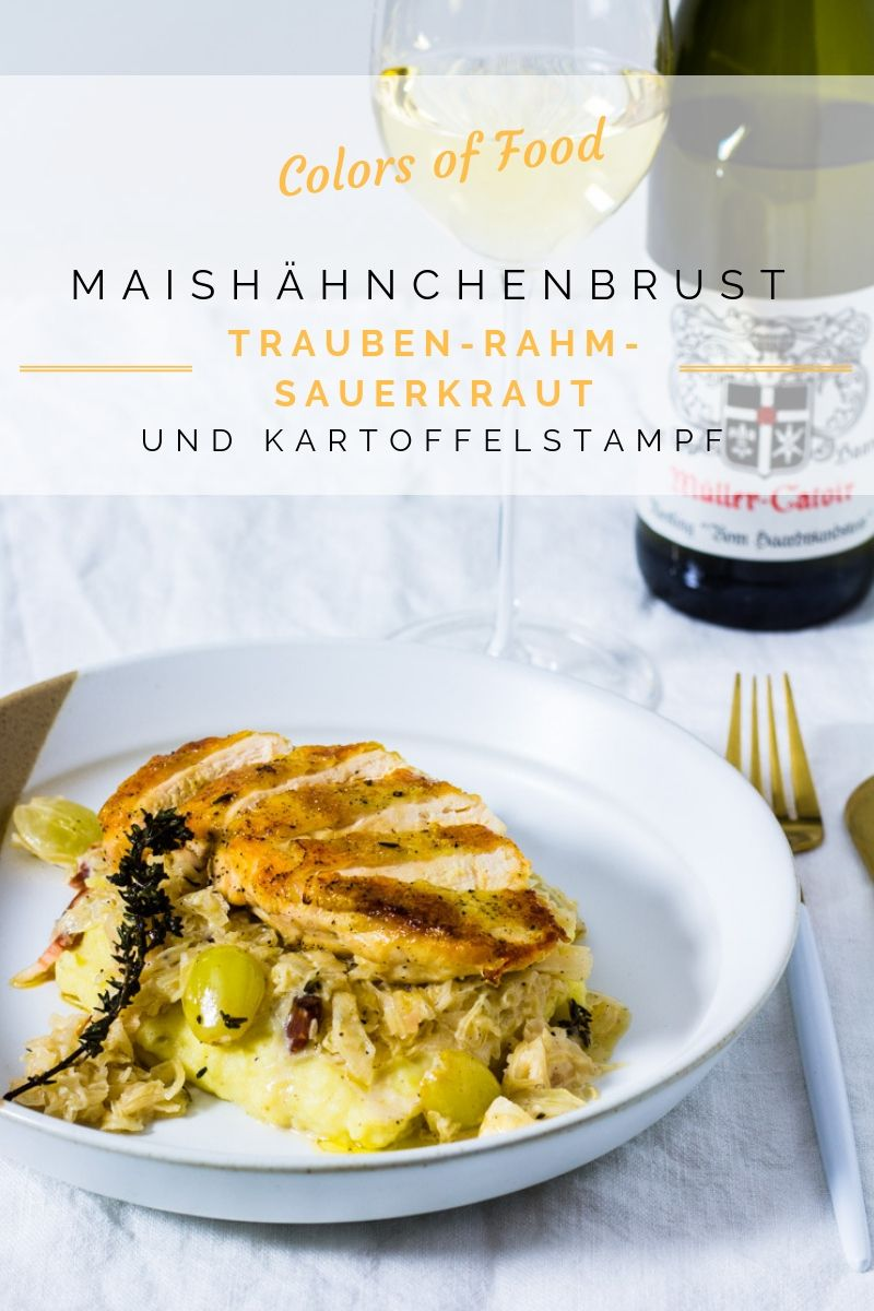 Photo of Corn chicken breast on grape-cream-sauerkraut and potatoes …