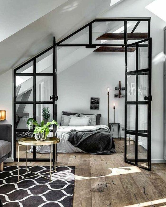 chambre à coucher minimaliste, porte atelier, parquet en bois