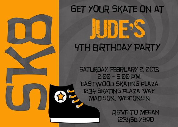 ICE SKATING ORANGE 5x7 Birthday Party Invitation Boy Printable Ice