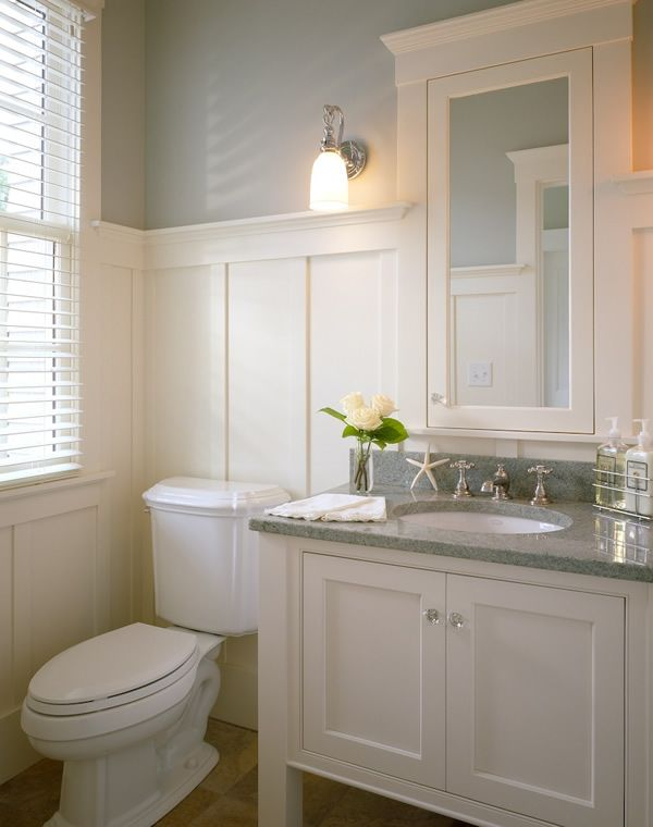 Exceptionnel White Vanity With Grey Granite Top, Wainscoting, Beige Floors. Great Powder  Room Bathroom