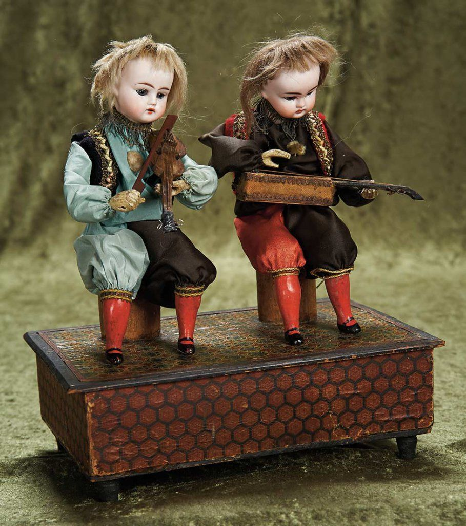 "German Mechanical Musical Toy ""Two Musicians"" by Zinner and Sohne. http://Theriaults.com"