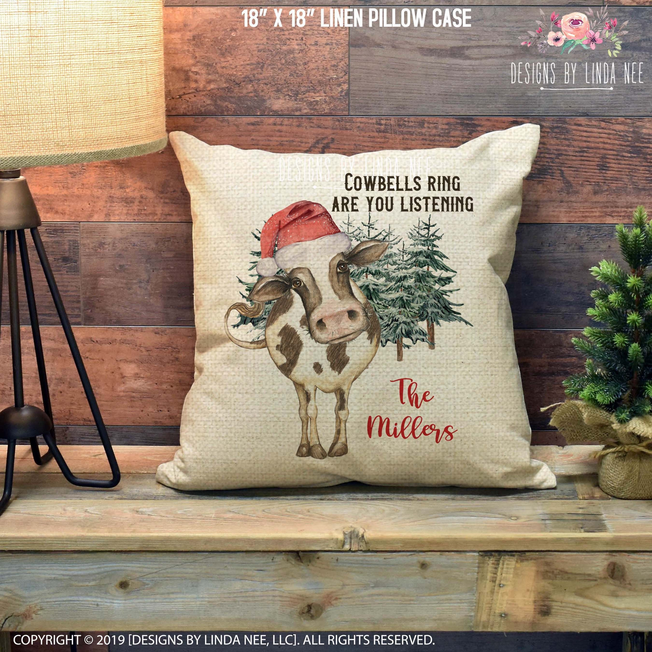 Personalized Cow Pillow Christmas Pillow Cover Cowbells Ring Etsy In 2020 Christmas Pillow Christmas Pillow Covers Pillows