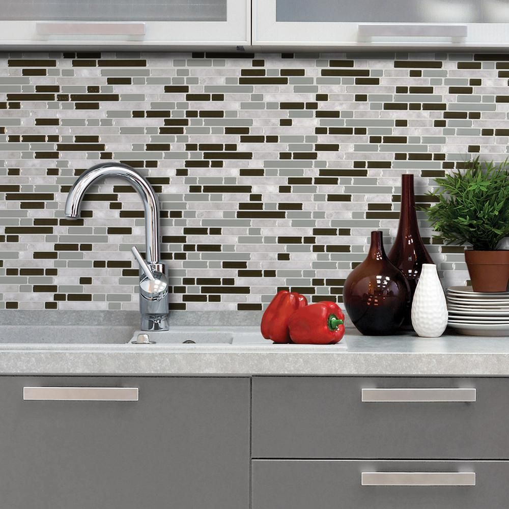 - Smart Tiles Bellagio Grigio 10.06 In.W X 10.00 In. H Peel And