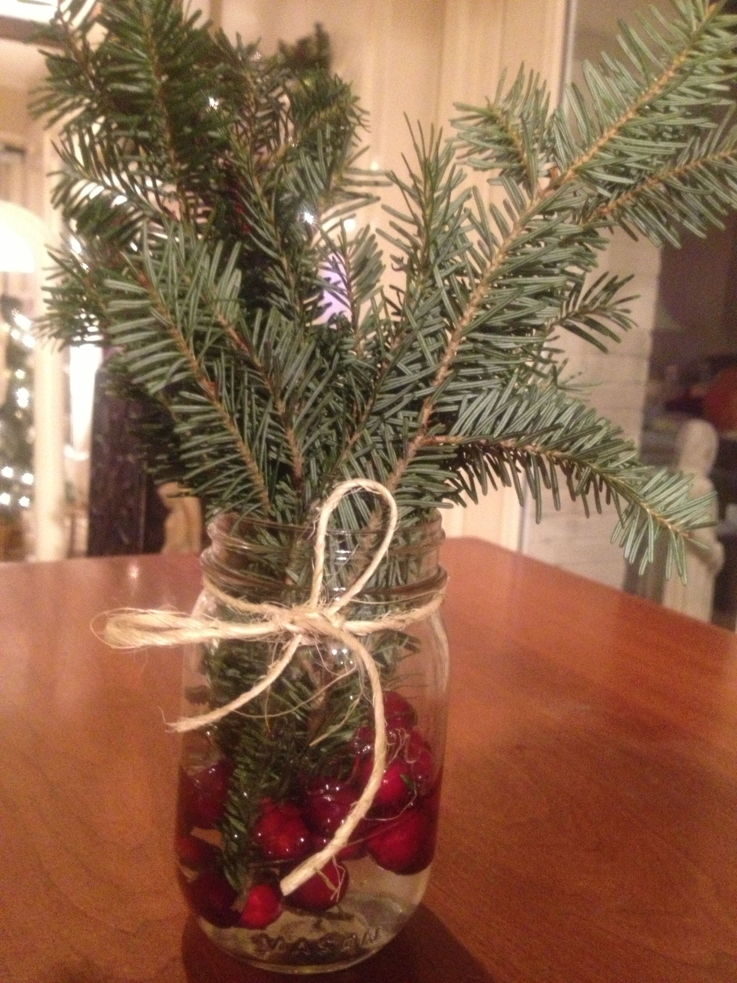 Mason Jar With Cranberries Twine And Christmas Tree Branches Smells Great Christmas Mason Jars Christmas Tree Branches Mason Jars