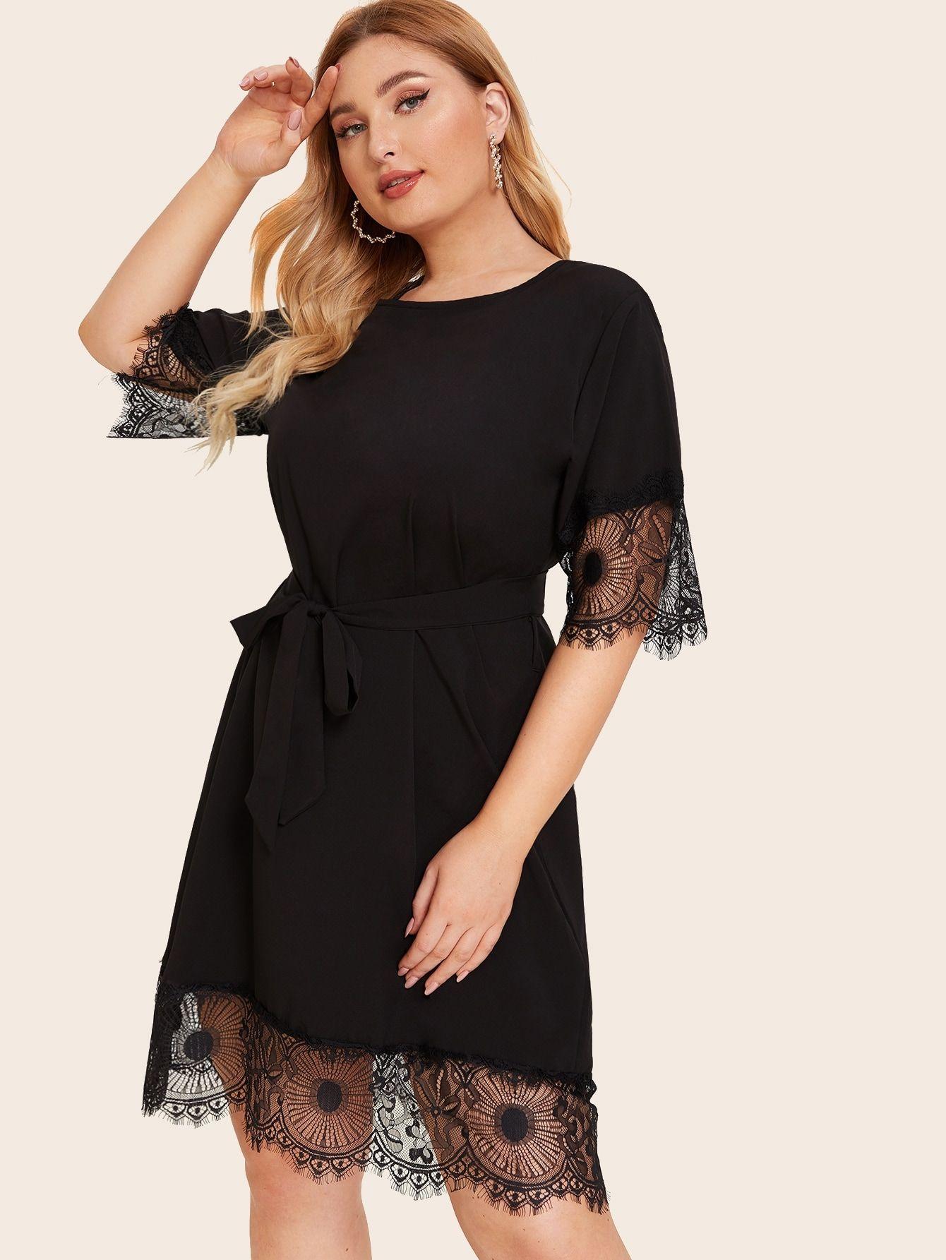 Ad Plus Contrast Eyelash Lace Self Tie Dress Tags Elegant Black Plain Round Neck Short Tunic Belt Occasion Maxi Dresses Curvy Dress Mesh Sleeved Dress [ 1785 x 1340 Pixel ]