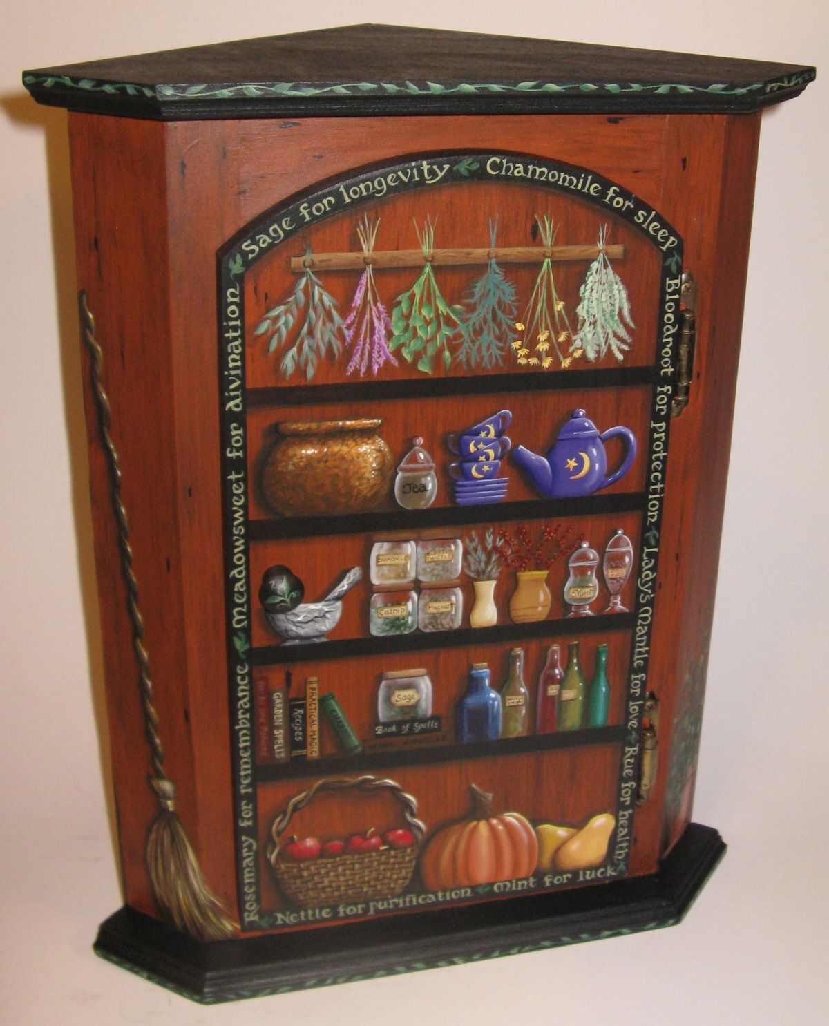 Corner Cupboard Painted As A Witch's Herb Pantry