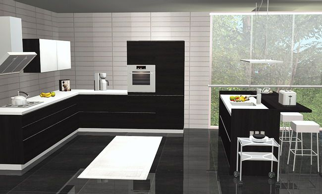 Black And White Kitchen Design With Minimalist Touch Contemporary Style