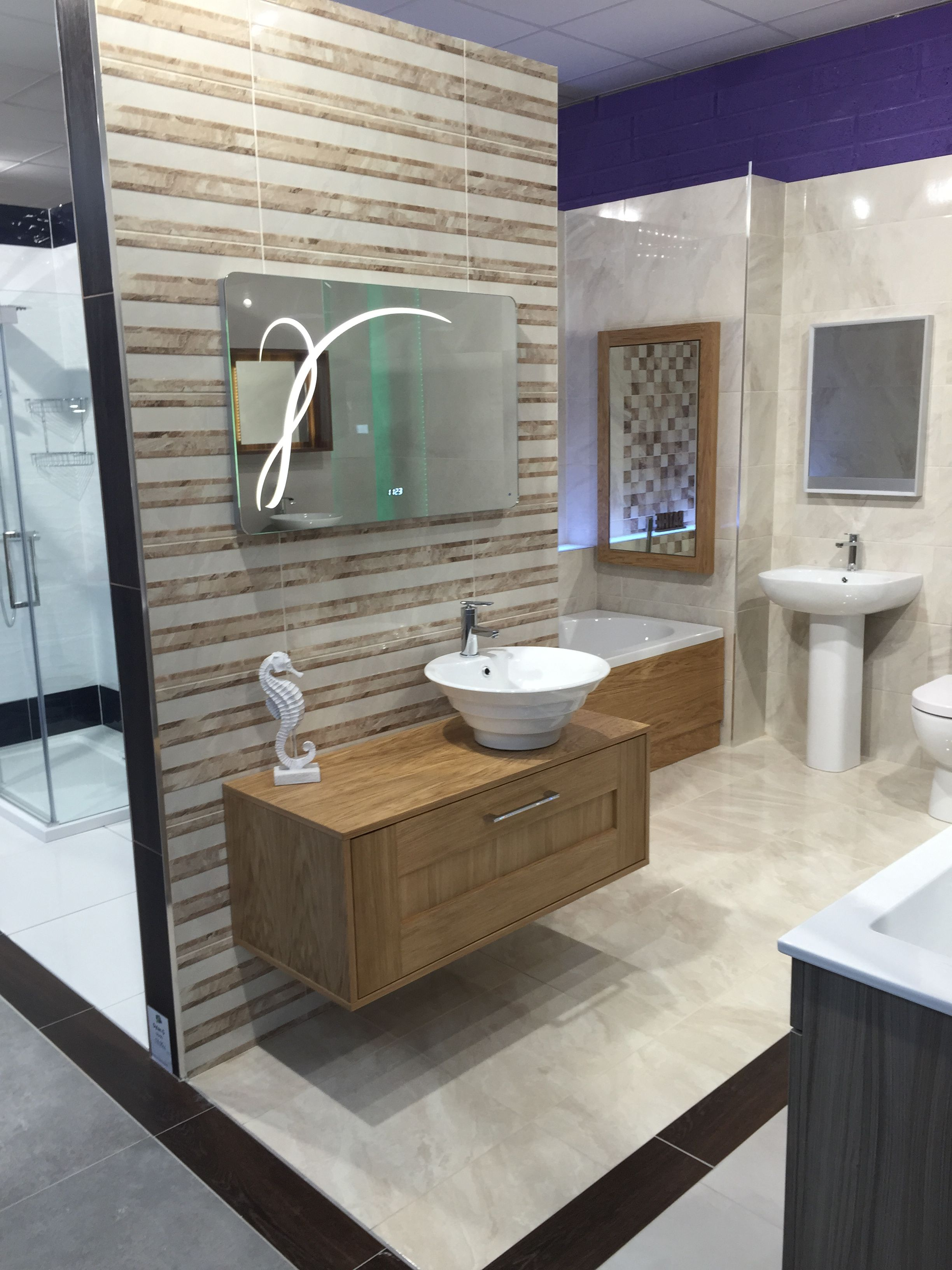 Custom Solid Oak Floating Vanity Unit With Counter Top Vanity Bowl Matching Bath Panel And
