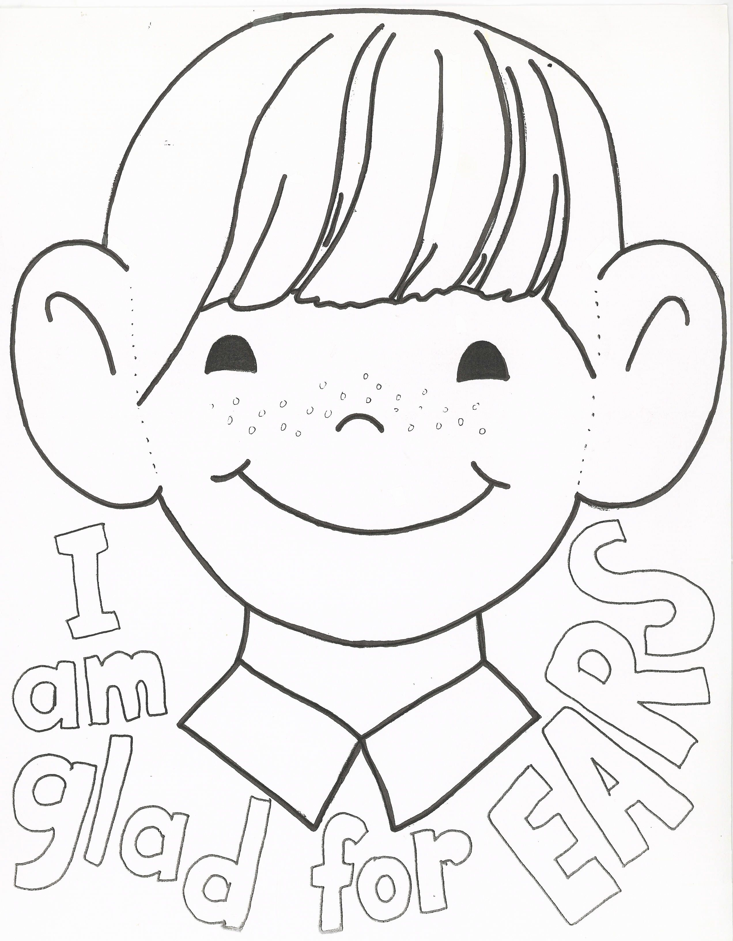I Am Thankful For My Ears Coloring Page