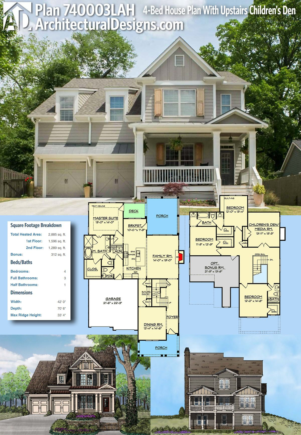 Plan 740003LAH 4 Bed House Plan With Upstairs