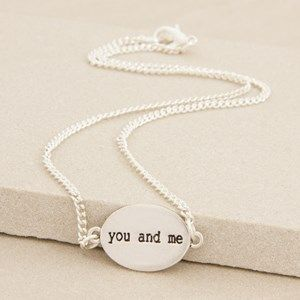 You and Me Oval Disc Script 47cm Necklace
