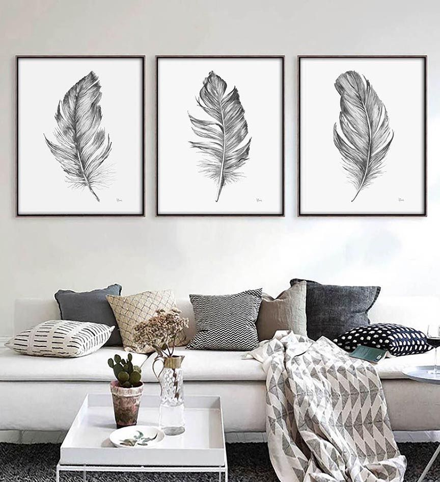 Boho Feathers Watercolor painting Large Wall art Prints Wall decor ...
