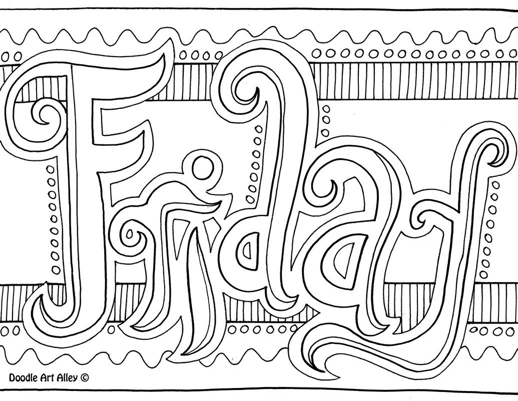 Friday Coloring Page | Doodles, printables, adult art | Pinterest ...
