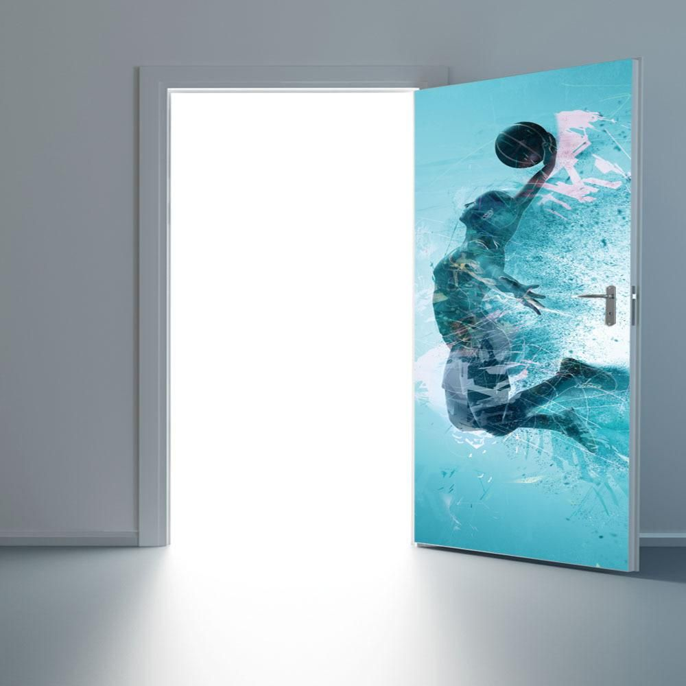 Dunk Basketball Men Door Stickers Self Adhesive Home Art Door