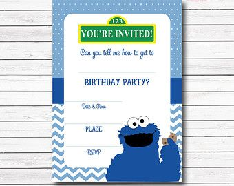 Instant Download Cookie Monster Invitation Cookie By BabycakesArt - Free printable monster birthday invitation templates