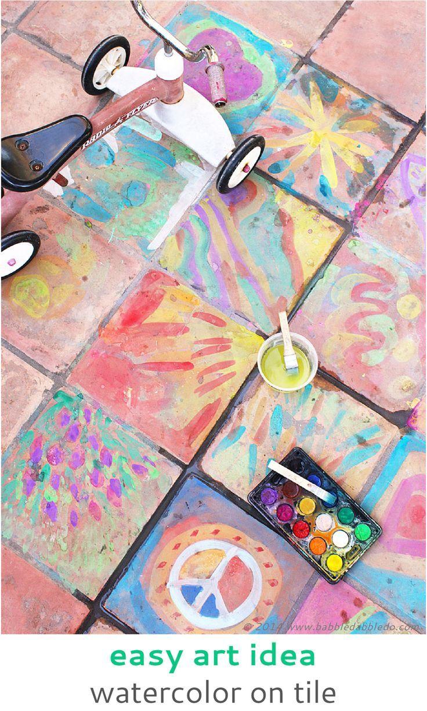 Easy Art Ideas For Kids Watercolor On Tile Art Paint